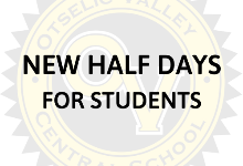 New HALF DAYS for students due to staff professional development