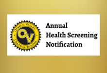 Annual Health Screening notification, plus a B M I opt-out form