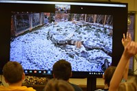 Students watching live video with hands raised look for Arctic fox in a snowy zoo enclosure with gra