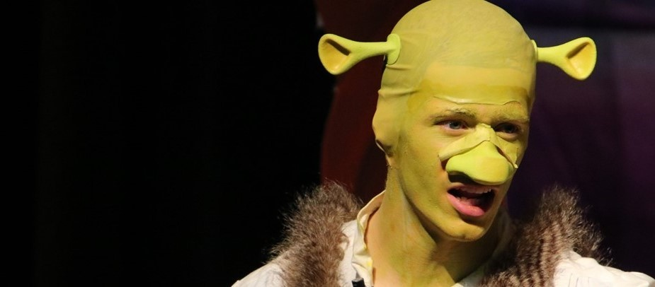 young man dressed as Shrek in green costume with ears